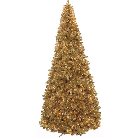 9 foot gold tinsel tree clear lights c 90651