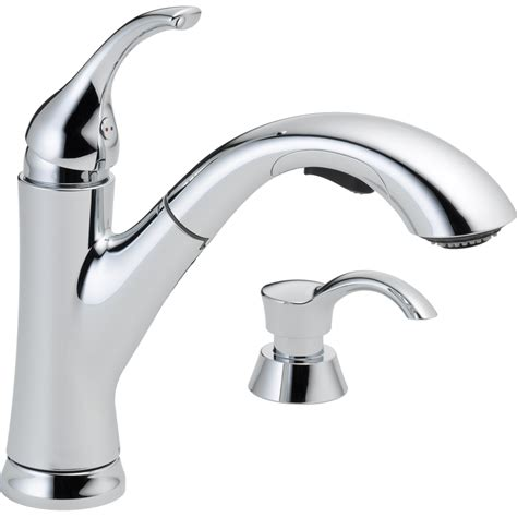 chrome kitchen faucets shop delta kessler chrome 1 handle deck mount pull out
