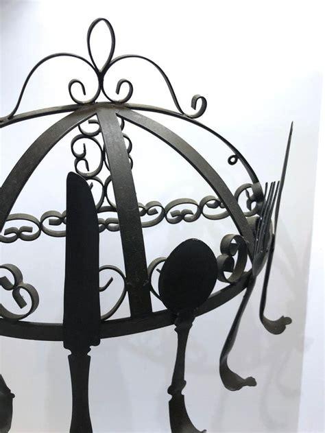 vintage large pot rack black wrought iron  gothic scroll etsy vintage large pot rack wrought