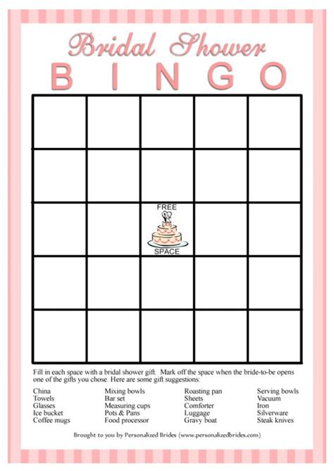 printable bridal showers bingo cards