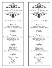 free wedding menu templates wedding menu template wedding menu template 6