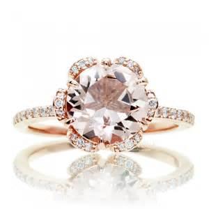 morganite halo engagement ring morganite ring 14k gold flower halo engagement ring 8mm peachy pink