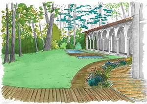 Jardin Dessin Couleur : dessins et esquisses paysagiste nice paysage ~ Melissatoandfro.com Idées de Décoration