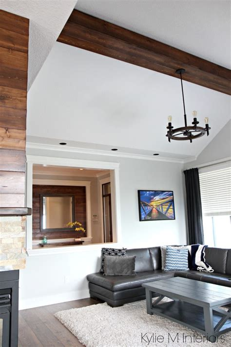 living room design  vaulted ceiling faux wood beam