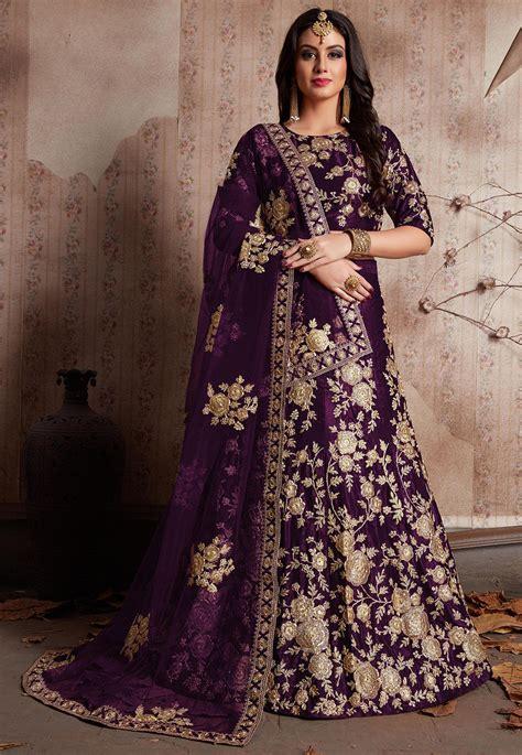 embroidered velvet lehenga  violet lxe