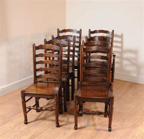 Kitchen Chair Upholstery by Set 8 Oak Ladderback Chairs Kitchen Dining Chair Farmhouse