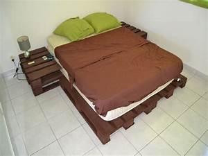 Palette De Bois : lit en palette de bois avec lumiere avec lit lit palette ~ Premium-room.com Idées de Décoration