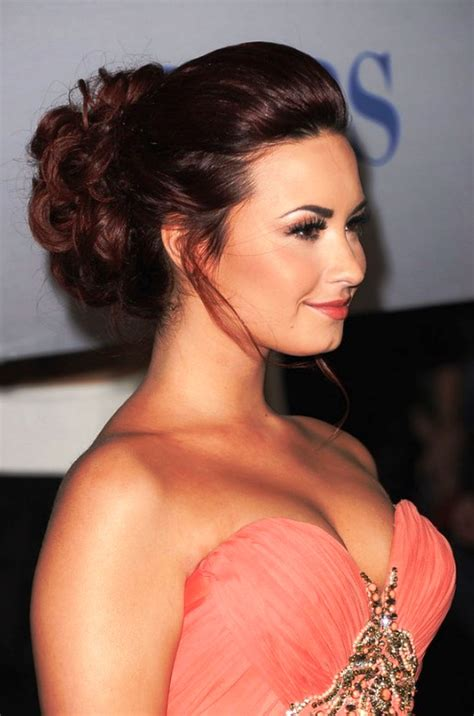 Pictures Of Demi Lovato Beautiful Red Updo For Long Hair