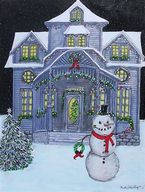 victorian christmas house painting  gordon wendling