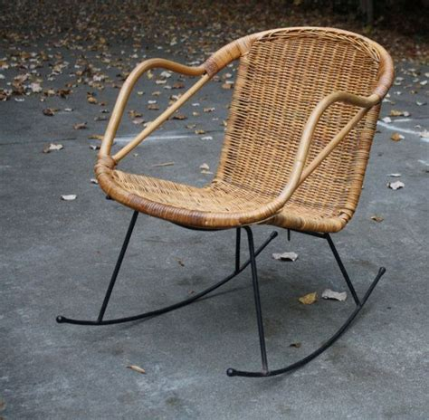 mid century modern style wicker rattan rocking by