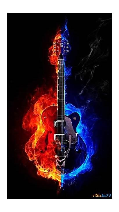 Guitar Fire Screensavers Rock Mobile Animated Wallpapers