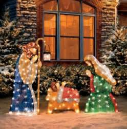 3 pc set outdoor lighted holy family nativity scene christmas yard art decor ebay