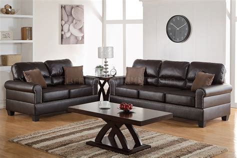 Espresso Leather Loveseat by F7878 Sofa Loveseat Set In Espresso Bonded Leather By