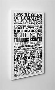 tableau imprime sur toile les regles de la maison With faire une maison en 3d 15 sticker les ragles de la famille stickers muraux beestick