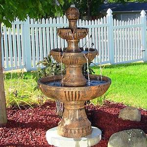 Outdoor classics flower backyard 3 tier water fountain for Outdoor patio fountains