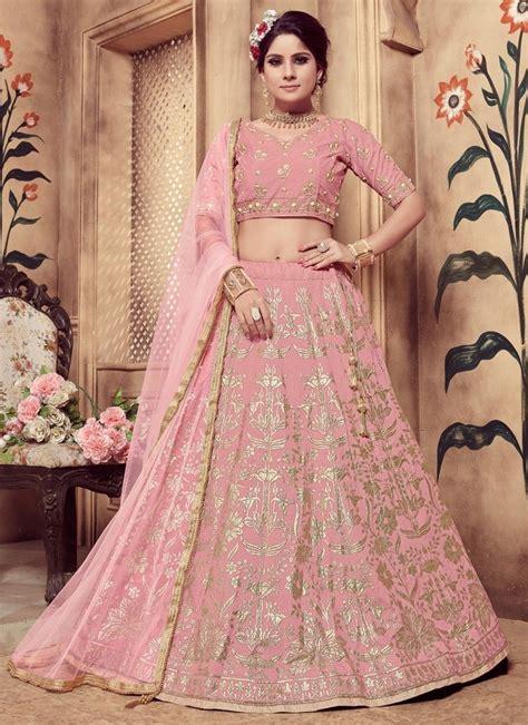 shop  pink color rubber foil work silk designer