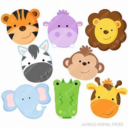 Jungle Animal Faces Clipart