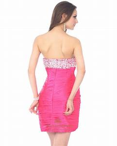 Hot Pink Short Strapless Sweetheart Cocktail Dress With ...