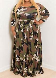 Plus Size Camouflage Printed O-Neck Maxi Dress - Chicgrace