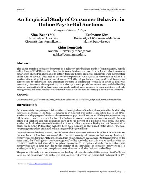 pay to bid auction pdf an empirical study of consumer behavior in