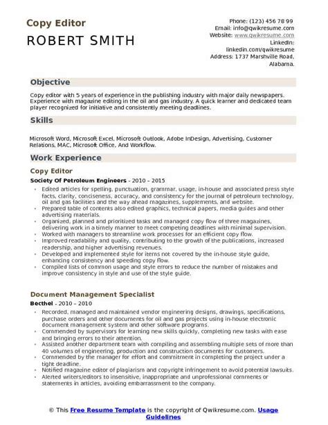 Copy Of Resume For by Copy Editor Resume Sles Qwikresume