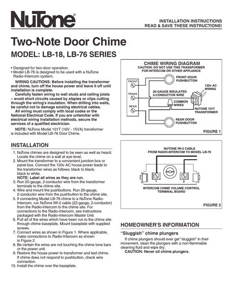nutone  note door chime lb  user manual  pages