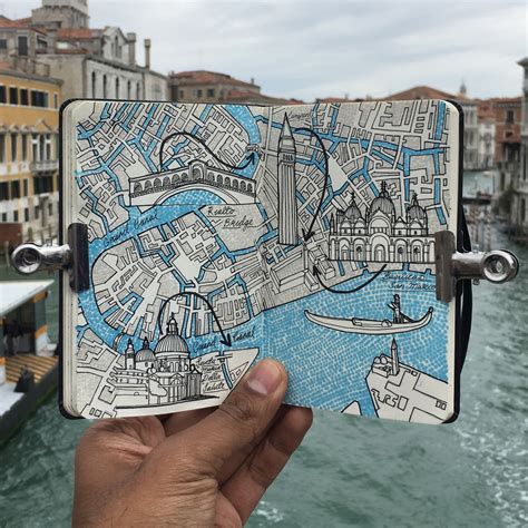 city day trip map drawing  venice italy mymoleskine