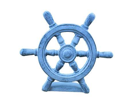 Boat Steering Wheel Blue by Buy Blue Whitewashed Cast Iron Ship Wheel Door