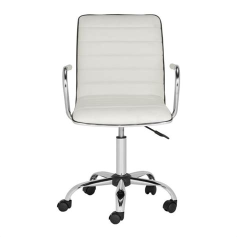 safavieh jonika chrome steel desk office chair in white