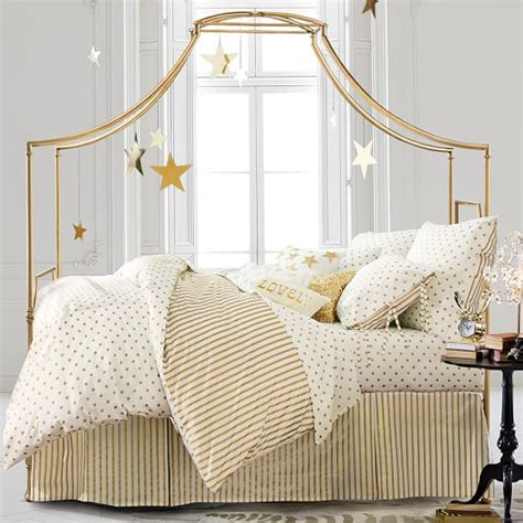 37037 gold canopy bed pottery barn teen mega furniture home decor must