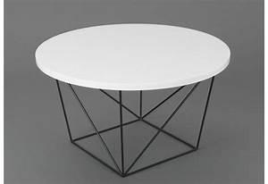 Table Basse Noire Ronde : table basse ronde design moderne glossy pieds m tal noir et plateau ~ Teatrodelosmanantiales.com Idées de Décoration