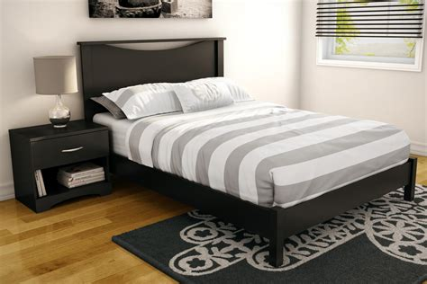South Shore Step One Full Platform Bed & Headboard In Pure