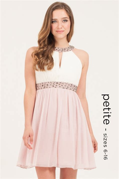 Petite Nude Cream Embellished Dress From Little