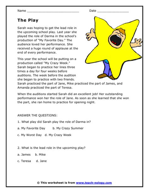 teach nology worksheets language arts reading comp the play