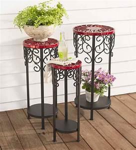 Decorative, Metal, Plants, Stands, Set, Of, 3