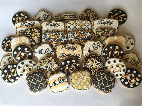 black white  gold birthday cookies   cookies