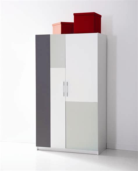 armoire contemporaine 2 portes blanche et grise lucinda
