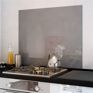 Fond De Hotte Verre : cr dence fond de hotte verre brillant gris cuisissimo ~ Dailycaller-alerts.com Idées de Décoration