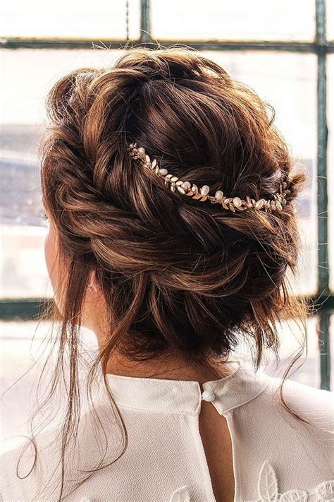 crown braid  messy updo hairstyle idea wedding hairstyle