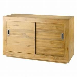 meuble avec portes coulissantes en teck achat vente With porte coulissante pour meuble bas