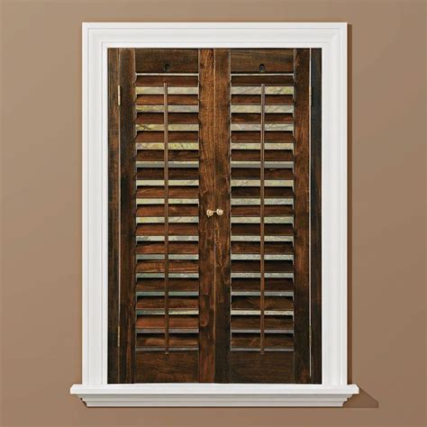 wooden shutters interior home depot homebasics plantation walnut real wood interior shutters price varies by size qspc3124 the