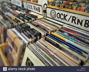 Old vinyl records in the music store Stock Photo ...