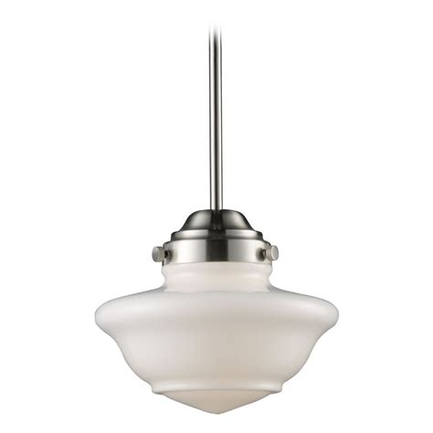schoolhouse pendant light schoolhouse mini pendant light with white glass 69042 1