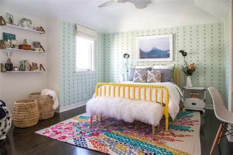 Colorful, Eclectic Girl's Room With Green Wallpaper