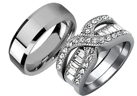 3 pcs his her stainless steel wedding engagement couple