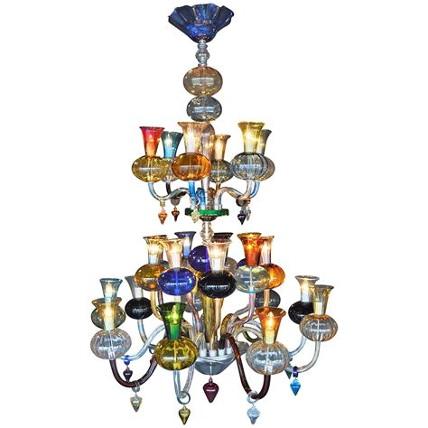 multicolored blown glass chandelier for sale at 1stdibs