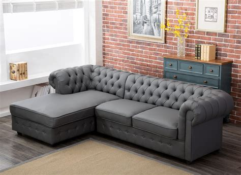 settee bed empire chesterfield corner sofa bed in grey pu leather