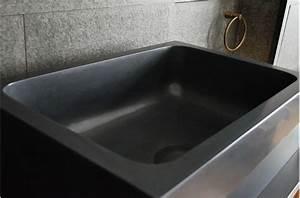 Walabi shadow evier de cuisine sous plan en noir luxe for Evier cuisine encastrable sous plan