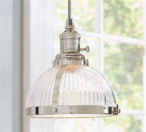 Pb classic pendant ribbed glass industrial