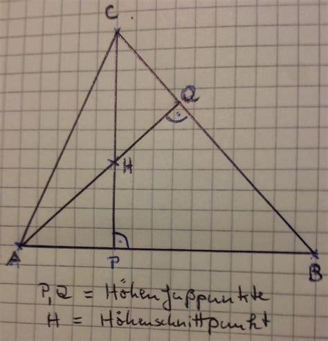 hoehenschnittpunkt mithilfe von  punkten berechnen